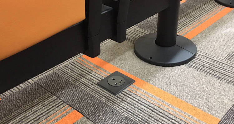 Power plugs built into telescopic seating stand